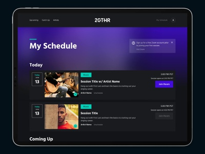 2GTHR - Schedule page design - UI/UX streaming video conferencing sessions classes calendar add to schedule schedule dark ui ux ui
