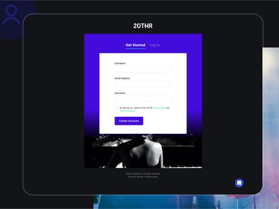2GTHR - Get Started page design - UI/UX get started create account sign up form musicians video conferencing ux ui dark ui dark mode ui web design