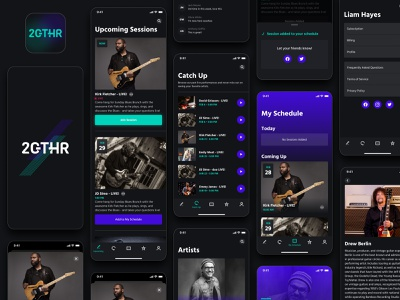 2GTHR - iOS App Design - Main tabs UI/UX for live streaming app branding app design app design dark mode conferencing video platform ios live streaming ux ui