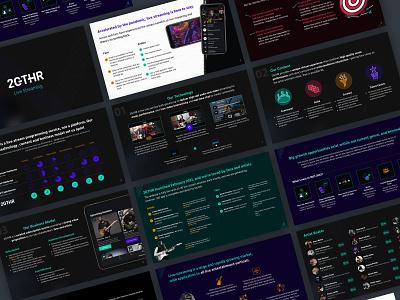 Pitch Deck - Video conferencing music platform dark mode graphic design slide design design pitch deck design deck