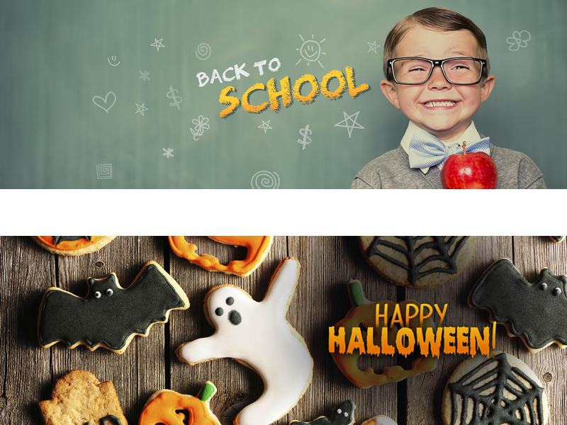 Seasonal banner ads for social media graphic design typography happy halloween back to school