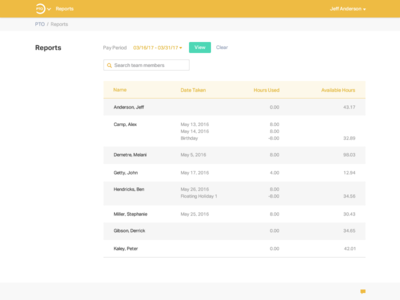 PTO web app- reporting page