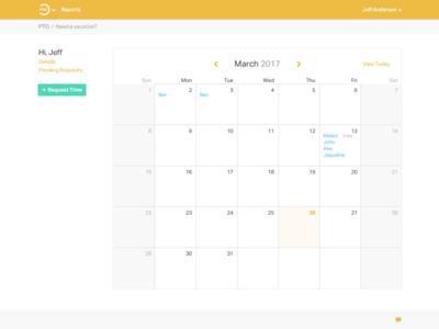 PTO web app - calendar view