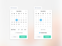 Scheduling Popover - date picker ui, set time, publish