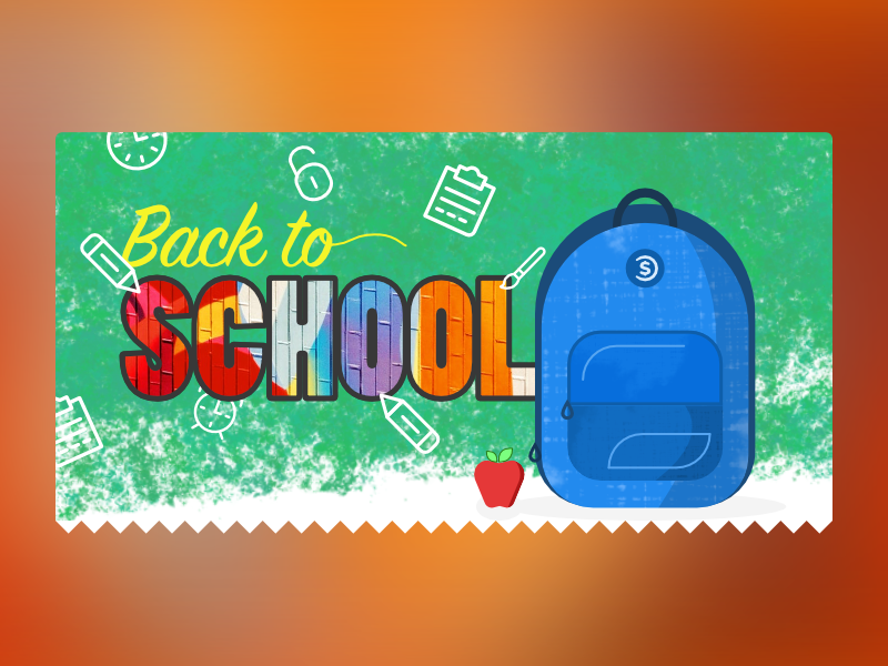 Back to school - illustration for email newsletter header newsletter email banner bookbag school back to school