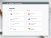 Systems Hub - suite of web apps, index page layout