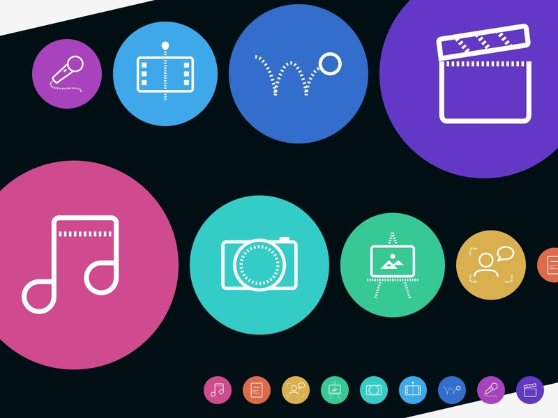 Colorful icons - creative interest types - custom color palette