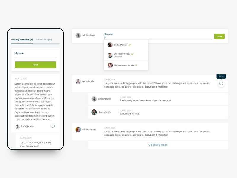 Web Design - Threaded comments UI - Desktop and mobile