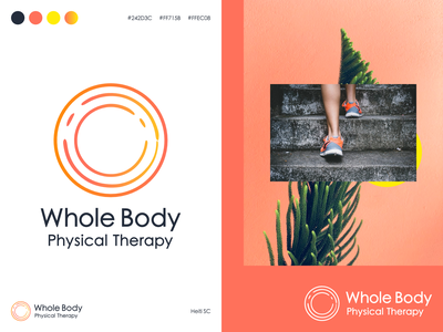 Whole Body Physical Therapy - Logo (branding project) logo mark brand mark custom color palette energy red orange circle therapy whole body branding logo