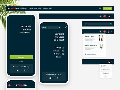 UI - Responsive Web Design - Header elements on desktop / mobile mobile web hand-friendly navigation download app profile popover button popover expanded search mobile header desktop header header web design ui