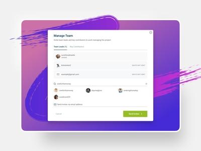 UI - Invite modal - manage team / settings