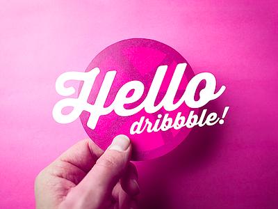 Hello Dribbble hand paper cutout photo invite dribbble hello