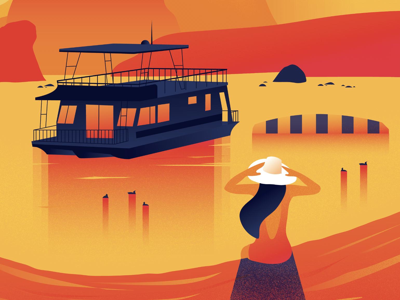 Lake Powell Houseboats texture flat blob swimming woman houseboat arizona powell lake