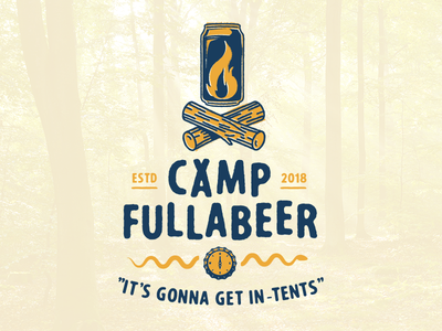 Camp Fullabeer tent bottle cap compass snake logs can fire beer camp