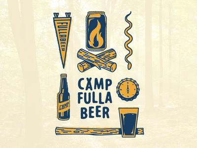 Camp Fullabeer pennant axe snake logs fire compass can camp bottle cap beer