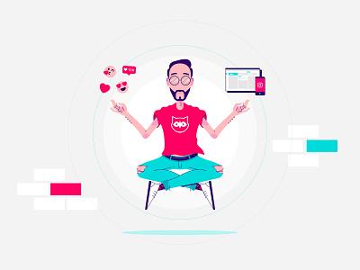 Community Manager Power - Illustration yoga engagement meditation hipster zen illustrator vector character illustration