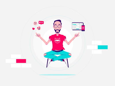 Community Manager Power - Animation character animation loop aftereffects motion graphics 2d animation zen yoga vector meditation illustator illustration hipster engagement character