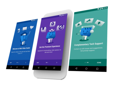 Web Video Caster: Onboarding material design onboarding illustration ui app chromecast android