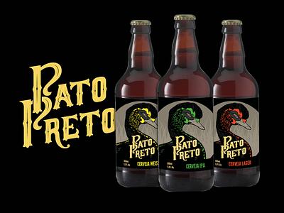Black Duck Family lettering label design pato duck cerveja brewing brewery beer branding beer bottle beer