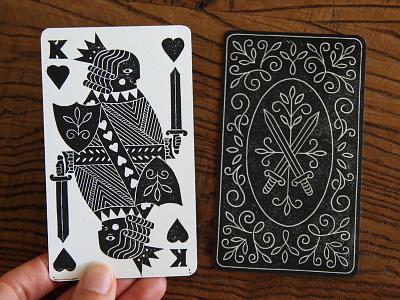 King of Hearts art illustration blockprint linocut linoprint printmaking playing card king of hearts