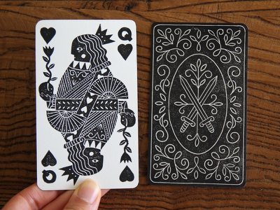 Queen Of Hearts art illustration blockprint linocut linoprint printmaking playing cards queen of hearts