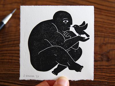 Man & Bird illustration linocut linoprint blockprint printmaking bird people man male
