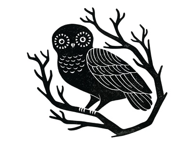 Owl illustration blockprint linoprint linocut printmaking bird owl