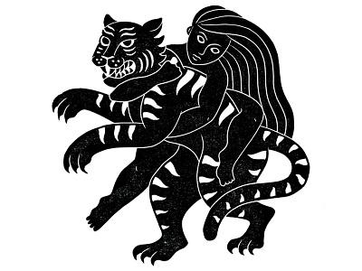 Woman Vs Tiger jiu jitsu blockprint linoprint linocut printmaking wrestle fight tiger woman
