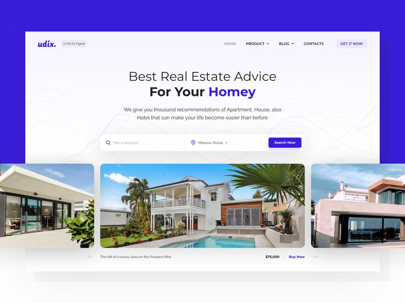 Real Estate Landing — udix UI kit for Figma estate realestate landing design ui8 vector freebie free premium theme template figma ui kit udix blue white web hipool ux ui