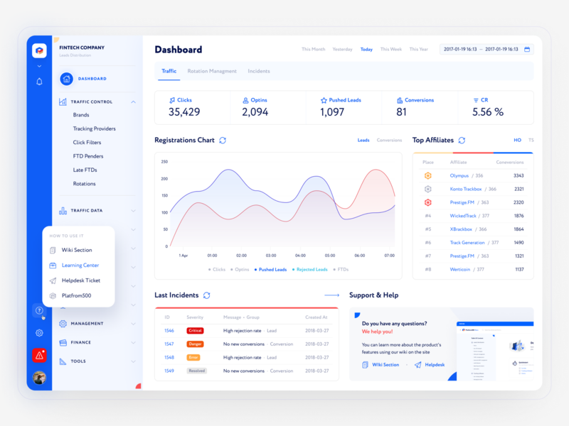 Redesign CRM for affiliate network adaptive admin crm network web design marketing affiliate finance white blue dashboard hipool ux ui