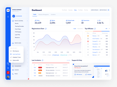 Redesign CRM for affiliate network adaptive admin crm network web design marketing affiliate finance white blue dashboard ux ui