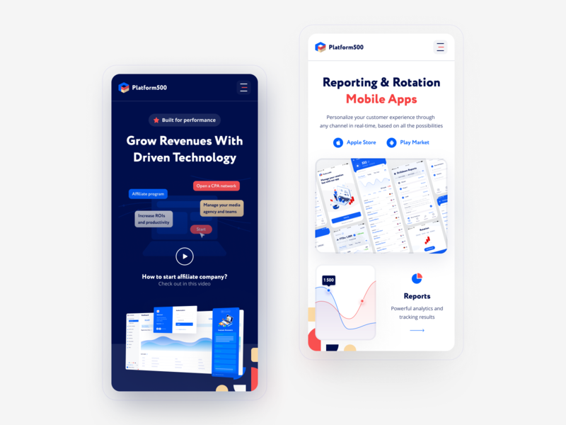 Mobile Screens for Product to Affiliate Networks dashboard video promo analytics reports crypto trading pattern blue white dark mobile marketing network affiliate web hipool ux ui