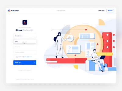 Sign Up page for SaaS (affiliate networks) login register sign in sign up affiliate marketing network affiliate illustration marketing finance blue adaptive white web ux ui