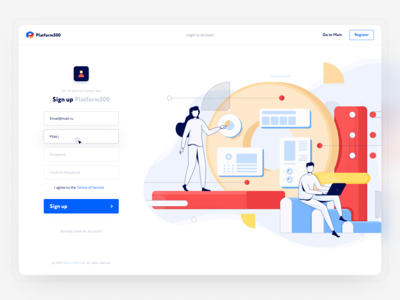 Sign Up page for SaaS (affiliate networks) login register sign in sign up affiliate marketing network affiliate illustration marketing finance blue adaptive white web hipool ux ui