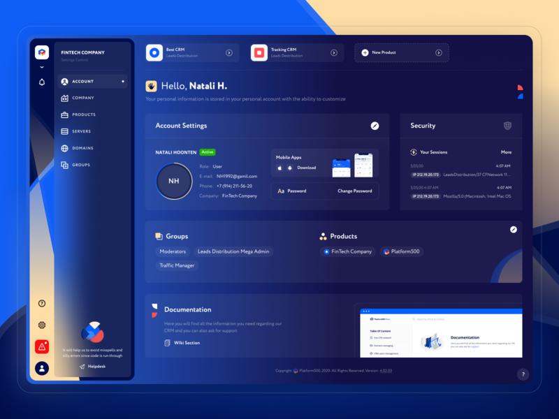Account for CRM (affiliate networks) template theme dark crm account udix ui8 ui kit free affiliate dashboard marketing finance logo blue adaptive web hipool ux ui