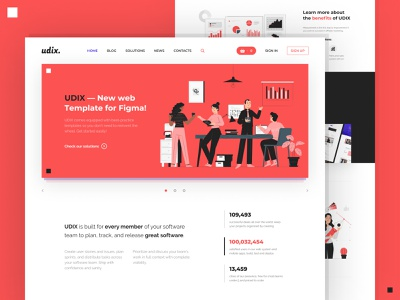 udix. — Figma Web UI Kit illustration premium adaptive marketing ui kit landing white red template theme freebie free ui8 figma web udix ux ui