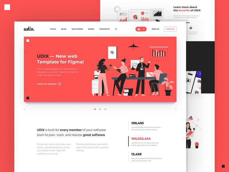 udix. — Figma Web UI Kit illustration premium adaptive marketing ui kit landing white red template theme freebie free ui8 figma web udix ux ui