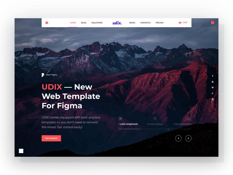 udix — Figma Web UI Kit for Landings white dark creative themeforest landing illustration marketing adaptive ui8 theme template freebie free ui kit figma udix web ux ui