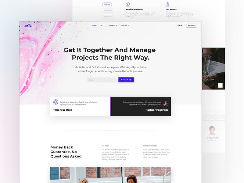 udix — Figma UI Kit for Landings design branding app agency marketing landing white freebie free premium template web theme ui8 figma udix ui kit ux ui