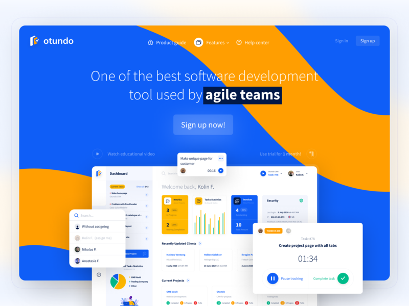 Website for Task Management Software creative udix time tracking software management task figma ui kit dashboad free landing page marketing yellow blue white web ux ui