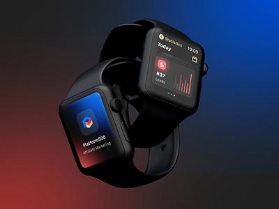 Watch App for Affiliate Marketing affiliate marketing blue red dark design branding finance logo affiliate marketing ui kit figma apple watch ux ui