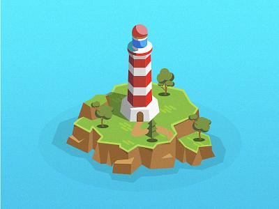 Beacon isometric island ocean beacon graphic illustration