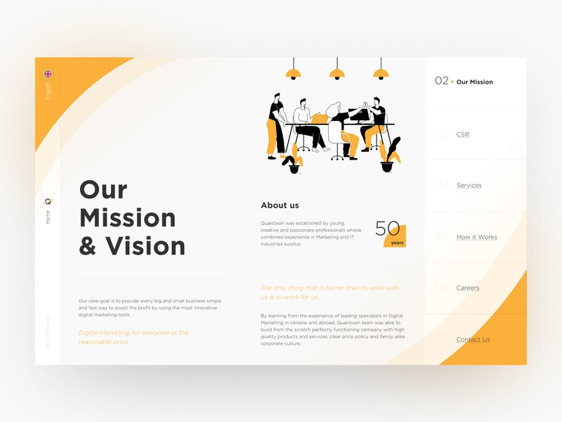 Our Mission & Vision advertise company digital logo vision mission agency marketing design branding ux ui illustration hipool fluid adaptive web yellow white