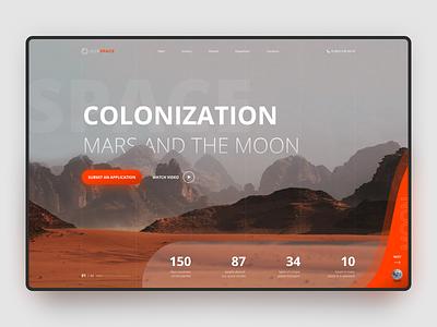 Colonization Mars & Moon — Concept OurSpace creative logo hipool colonization space adaptive web blur orange moon mars planet white ux ui