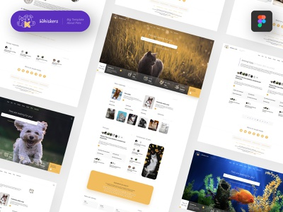 🐱 Whiskers — Web Template About Pets for Figma mobile logo demo illustration horse template web theme white fish figma encyclopedia news blog rodent snake pet cat dog animal