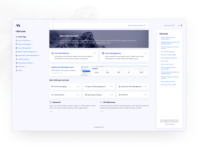 CRM Guide marketing affiliate logo fluid adaptive web white blue finance whiskers demo free freebie hipool ux ui dashboad wiki support search