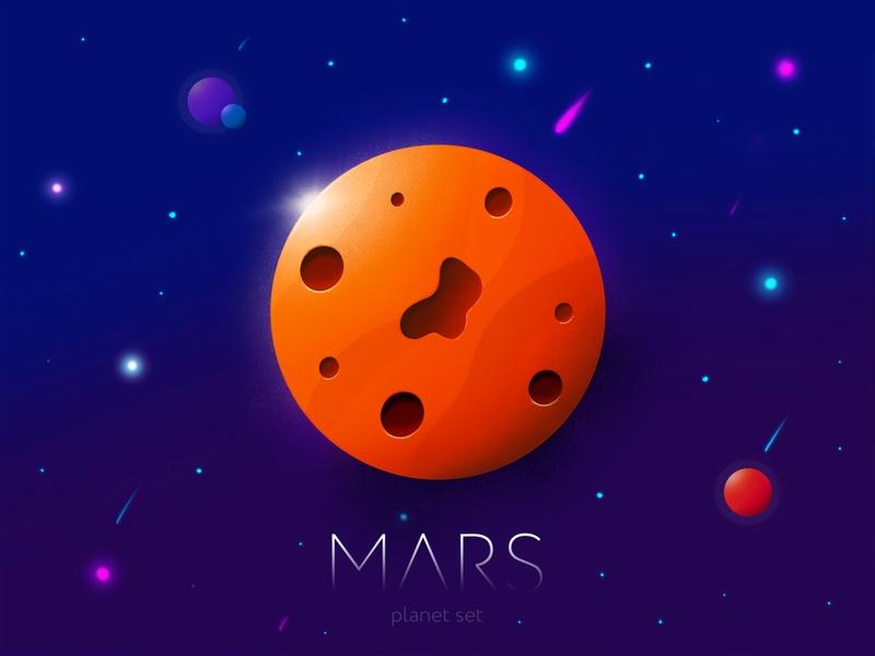 Mars — Planet Set pencil ipad photoshop procreate violet orange space sky planet set mars planet red illustration
