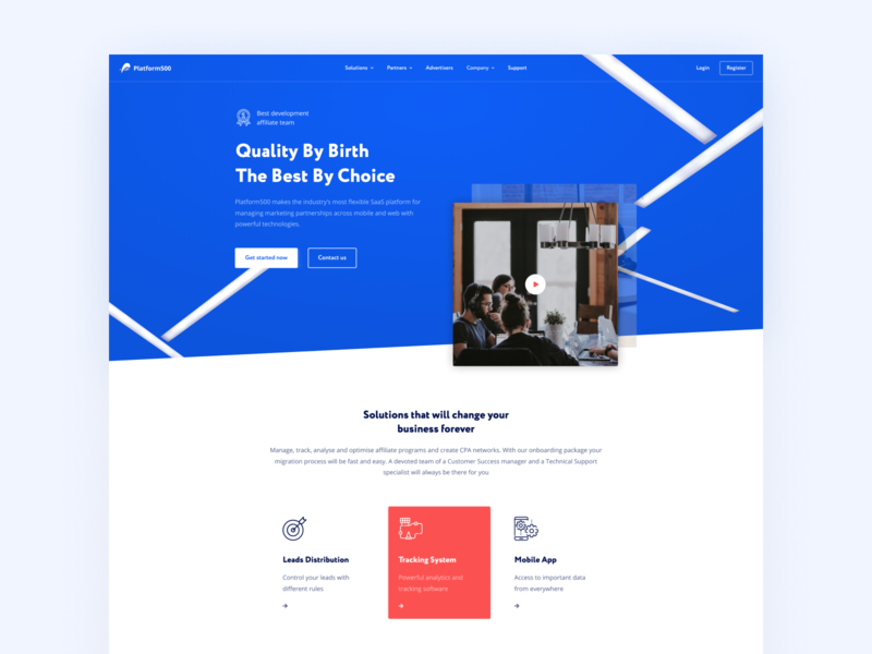 Platform500 — SaaS for Affiliate Networks marketing affiliate branding platform500 blue finance white adaptive logo web hipool ux ui