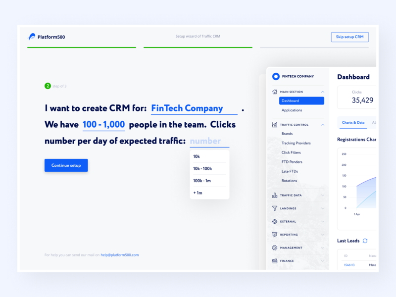 Onboarding wizard for CRM — Platform500 branding typography adaptive affiliate marketing blue finance white dashboard crm hipool wizard onboarding ux ui