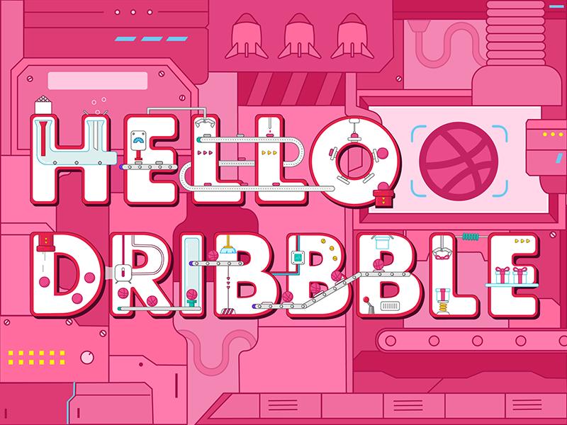 Hello Dribbble illustrator factory pink hello dribbble
